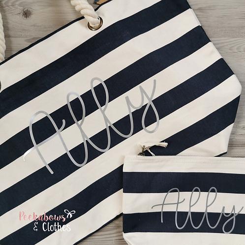 Personalised Stripe Bag Set