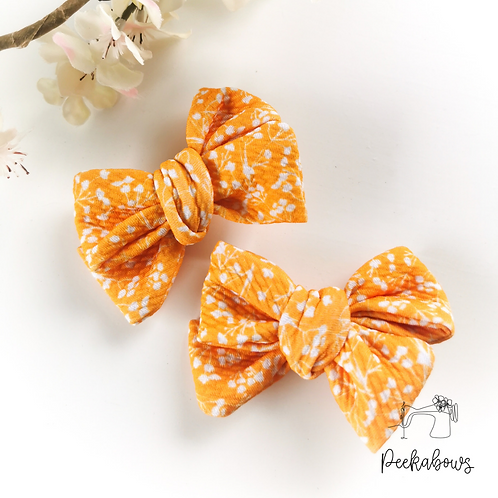 Mustard Floral Hand Tied Bows