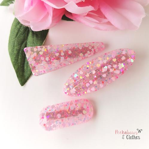 Pink Hearts Fringe Clips