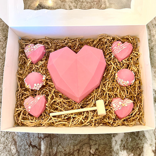 Breakable Chocolate Heart with Mallet, Peanut Butter Cups and Cocoa Bombs
