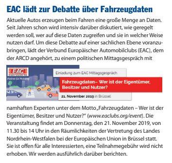 EAC lädt zur Debatte über Fahrzeugdaten