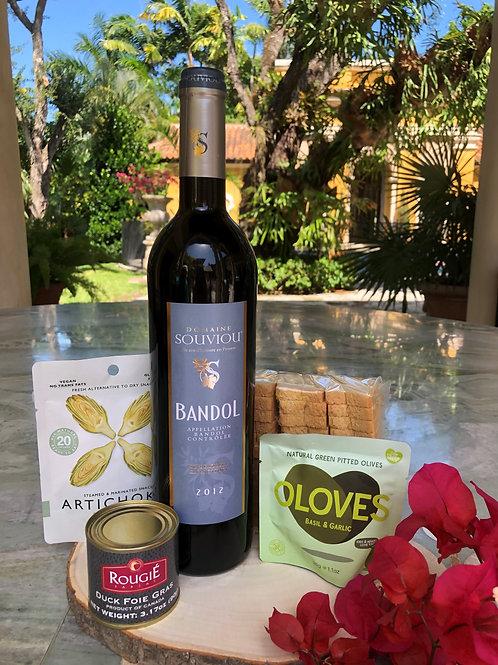 AOP Bandol Red 2012 with Duck Foie Gras & Healthy Snacks Gift Set