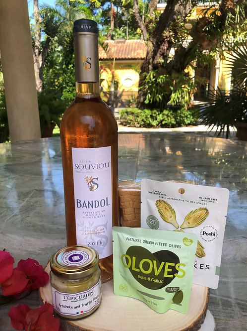 AOP Bandol Rosé 2016 with Artichoke Truffle Pesto & Healthy Snacks Gift Set