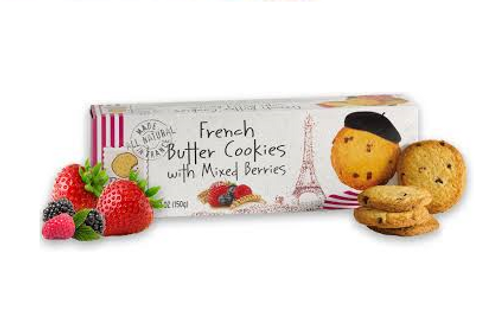 French Butter Cookies with Mixed Berries, Pierre Biscuiterie (5.29oz)