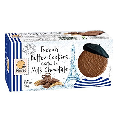 French Butter Cookies coated in Milk Chocolate, Pierre Biscuiterie (4.76oz)