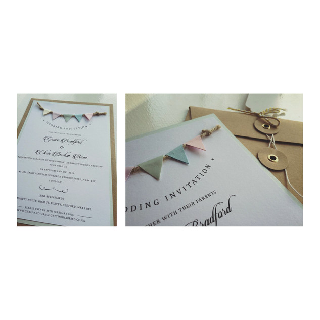 Pastel Bunting Wedding Invitation Set (A5)