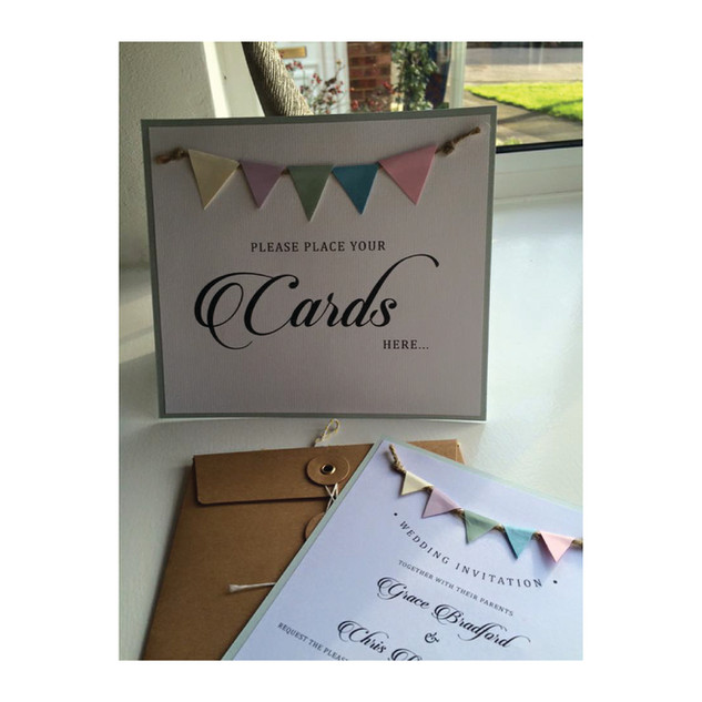 Pastel Bunting 'Please place your cards here' poster