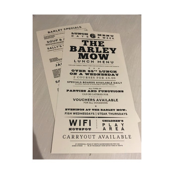 The Barley Mow - Printed Main Menu