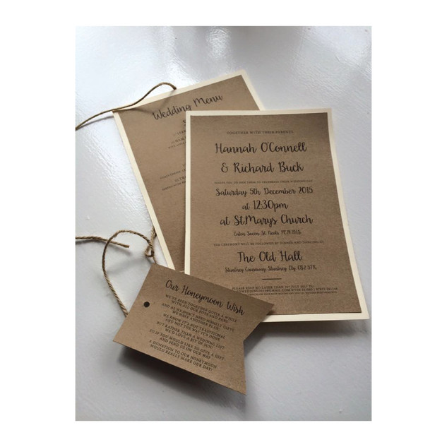 Rustic Brown and Cream Wedding Invitation Set (A5)