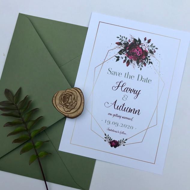 Sage, Maroon & Gold, Natural Card (A6)
