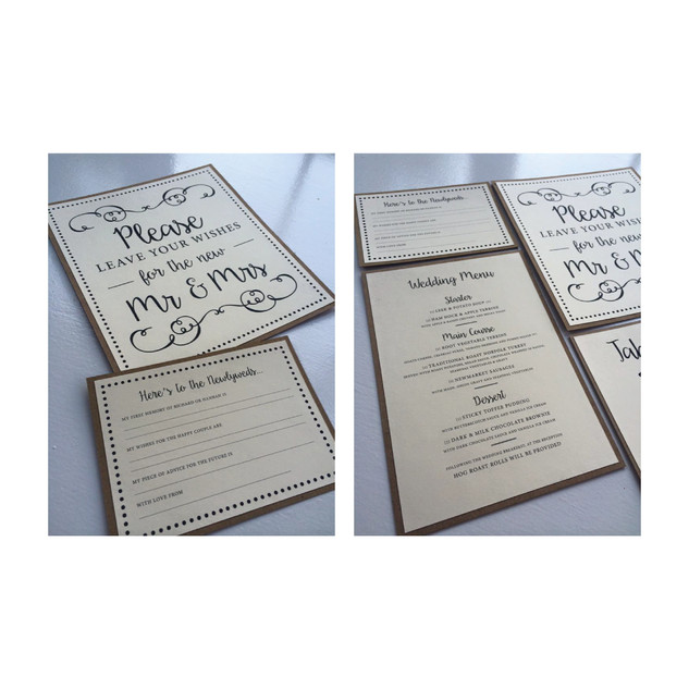 Rustic Brown and Cream Menu, Advice Card & Table Numbers