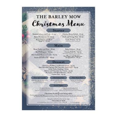 The Barley Mow 2018 Christmas Menu Poster