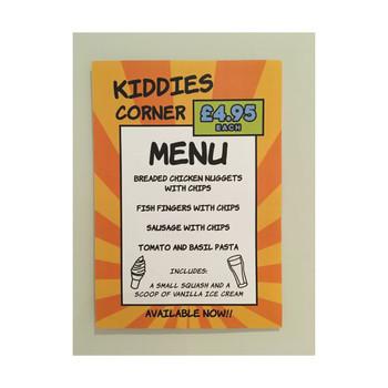 The Barley Mow - Printed Kiddies Corner Menu
