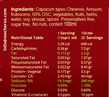 Mocheros Nutritional table
