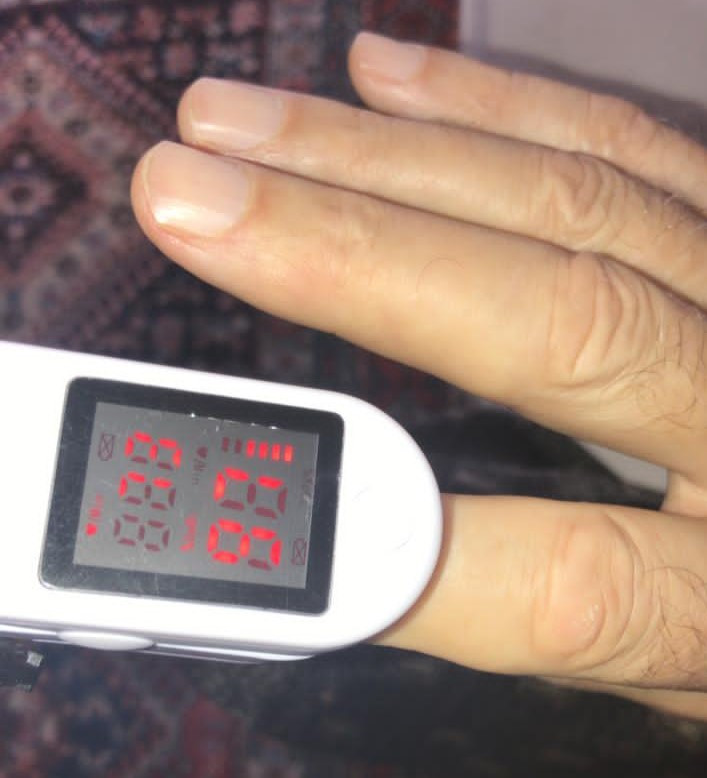 Pulse oximeter reading of 97% O2 saturation