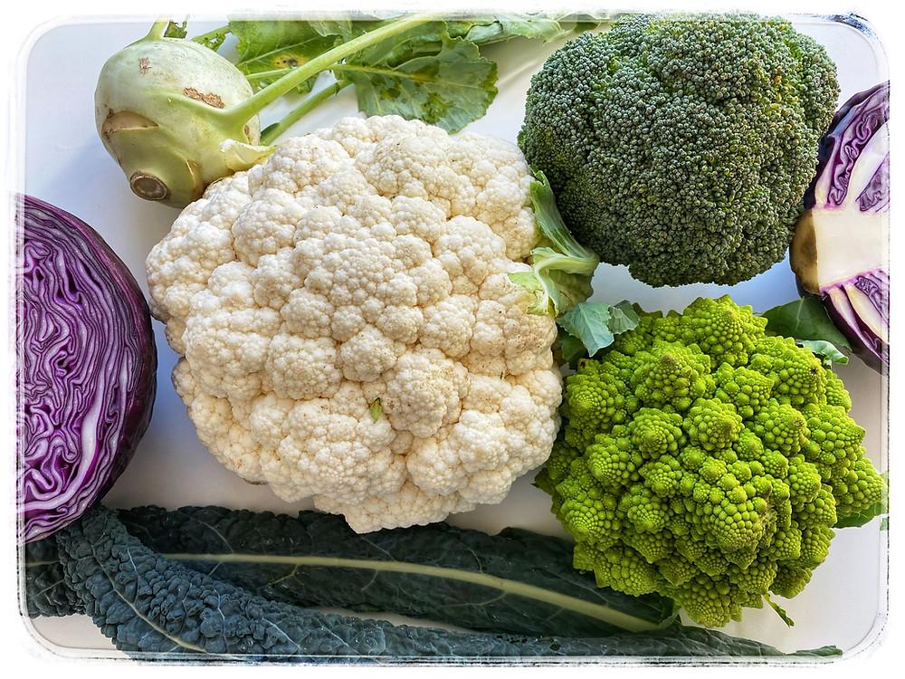 Cruciferous vegetables: Cauliflower, broccoli, romanesco broccoli, red cabbage, kohlrabi Image credit: Nicole Cullinan @wellnessplaceint