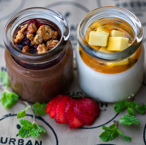 Coconut Panna Cotta Pot  75,000 VND | Chocolate Mousse Pot 85,000 VND