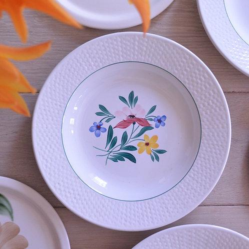 *フランスアンティーク*ディゴワン・サルグミンヌ パニエ模様と手書きのお花の可愛い深皿