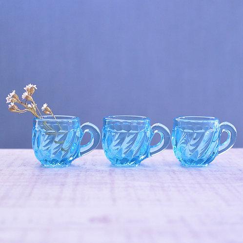 *フランスアンティーク*ブルーのリキュールグラス3個セット