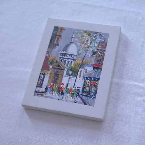 *フランスブロカント*モンマルトルの画家さんの小さな絵(サクレクール寺院)