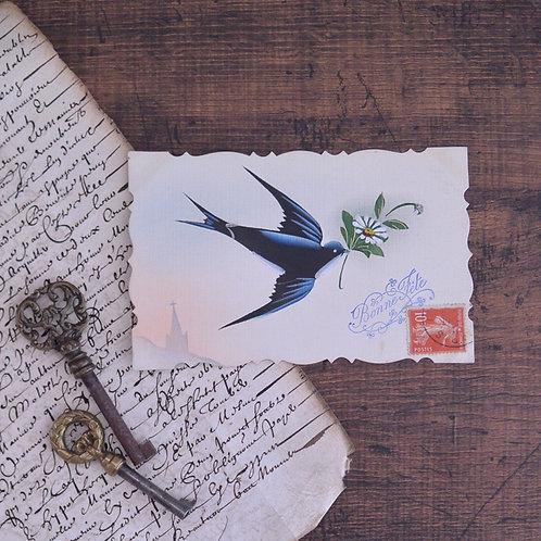 *フランスアンティーク*ツバメのポストカード