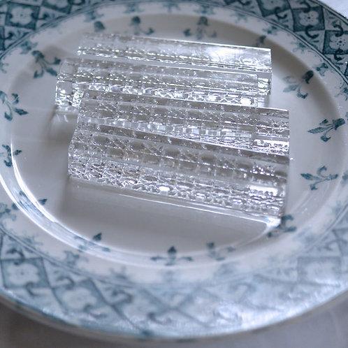 *フランスブロカント*ガラス製カトラリーレスト4個セット