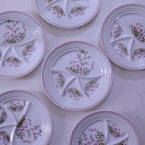 *フランスブロカント*ムーランデルー ピンク小花のフォンデュプレート 6枚セット