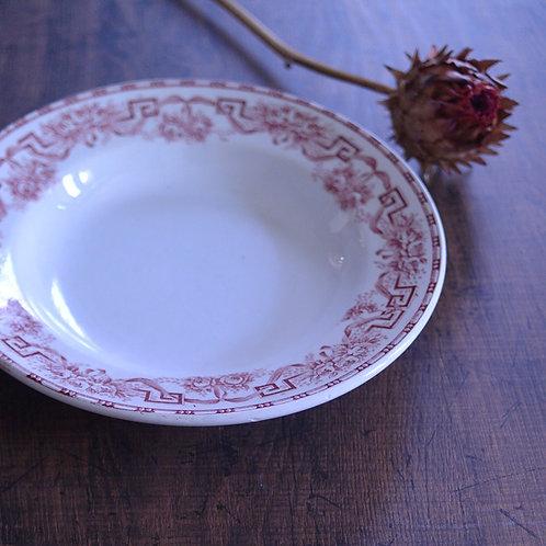 *フランスアンティーク*ムーランデルー「ATHENES」赤い深皿