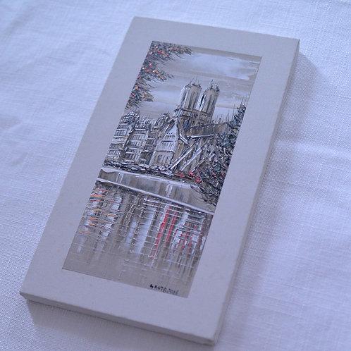 *フランスブロカント*モンマルトルの画家さんの小さな絵(ノートルダム寺院)