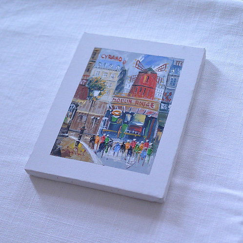 *フランスブロカント*モンマルトルの画家さんの小さな絵(ムーランルージュ)