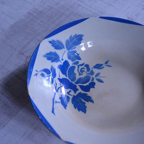 *フランスアンティーク*ジアン 青いバラの深皿