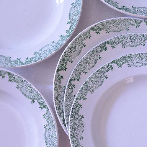 *フランスアンティーク*サンタマン 緑のレースと小花の深皿 6枚セット