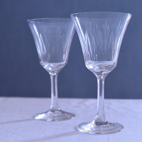*フランスアンティーク*ガラスのワイングラス2客セット