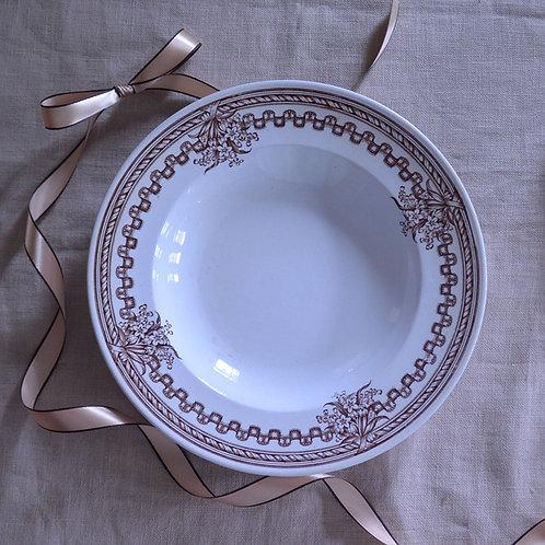 *フランスアンティーク*ロンウィ マロン色のブーケとリボンの深皿