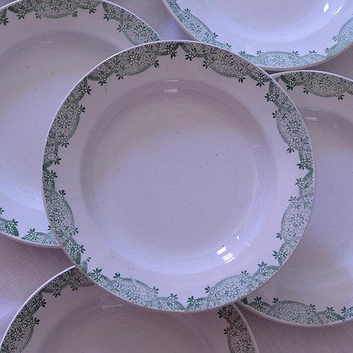 *フランスアンティーク*サンタマン 緑のレースと小花の深皿
