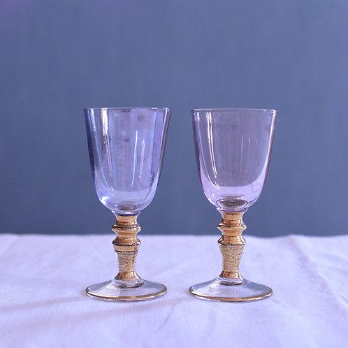*フランスアンティーク*ピンクとブルーのリキュールグラス2個セット