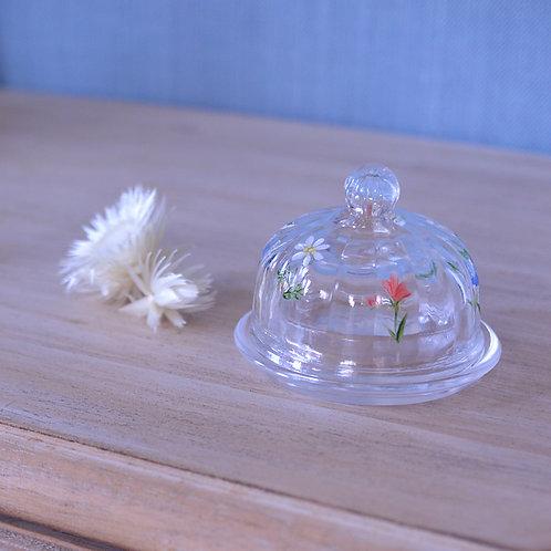 *フランスブロカント*手書きのお花の小さなガラスドーム(キャビアポット)