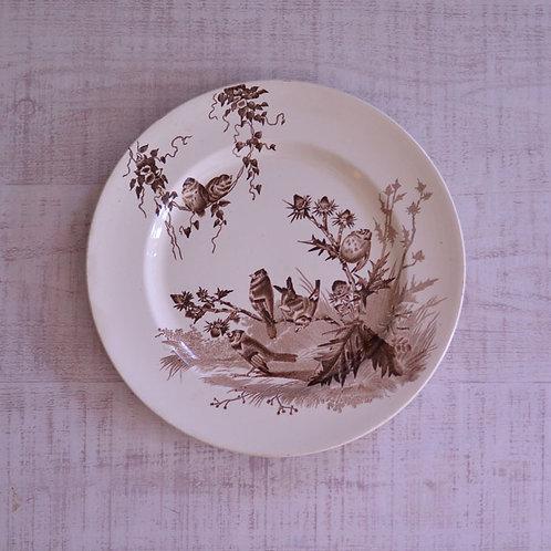 *フランスアンティーク*クレイユ&モントロー 茶色の小鳥のプレート