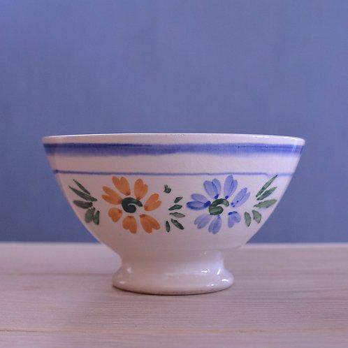 *フランスアンティーク*サルグミンヌ 青と黄色のお花柄カフェオレボウル