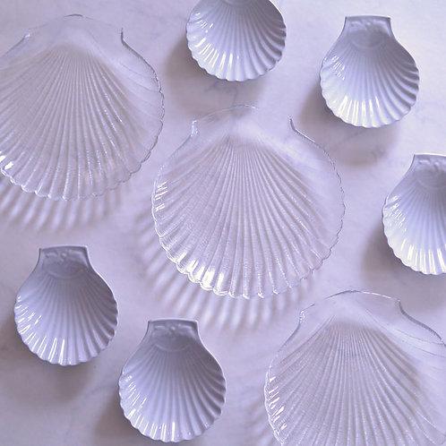 *フランスブロカント*アルコロック ホタテ型のガラスプレート
