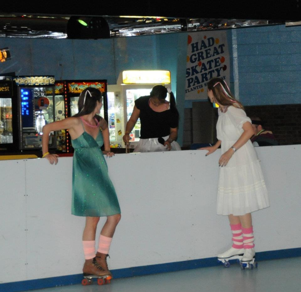 80s fashion, ribbon barrettes, rollerskate party