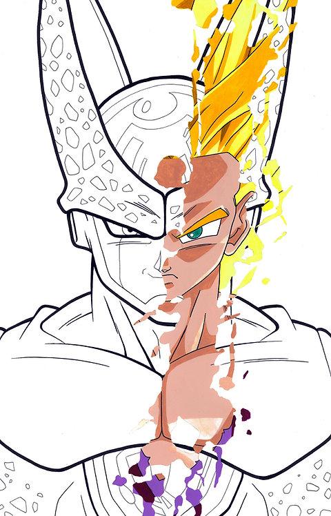 Gohan/Cell 'Splatter' Portrait