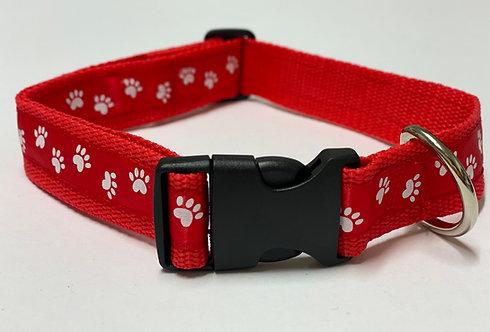 Handmade Red Paw print collar