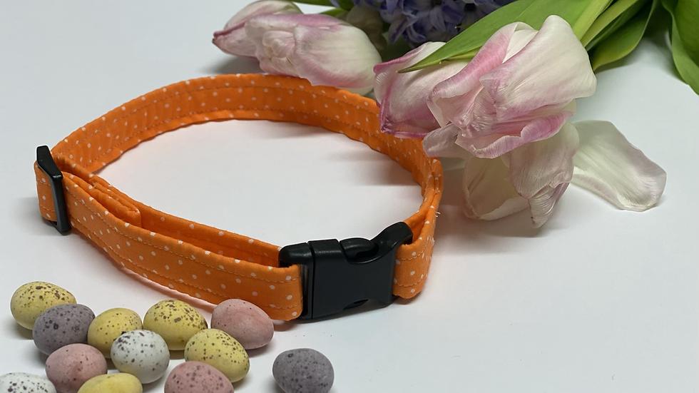 Handmade Orange Polkadot Dog Collar