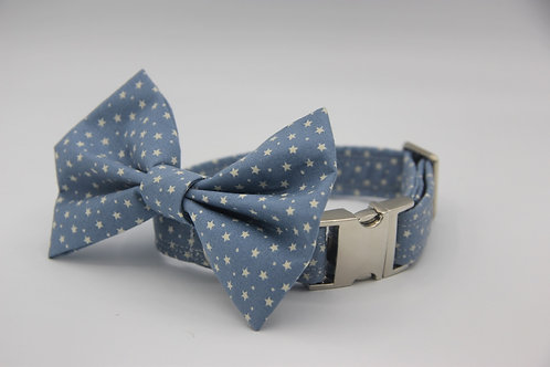 Baby Blue Star Dog Bow Tie