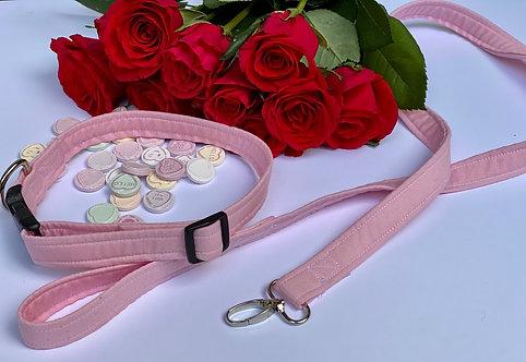 Handmade Pink Dog Collar with matching dog Lead