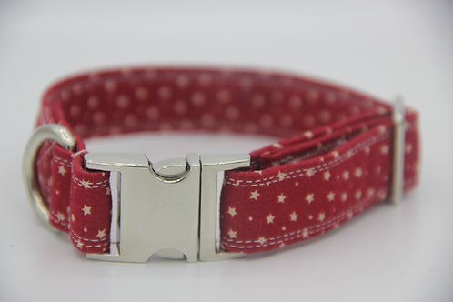 Dark Red Star Dog Collar