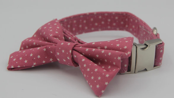 Baby Pink Star Dog Bow Tie