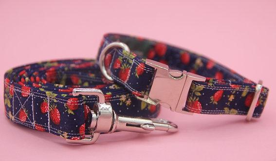 Strawberry Dog collar & Lead Set