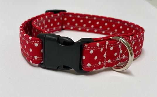 Beautiful Rose and Hubble Red Polkadot Dog Collar